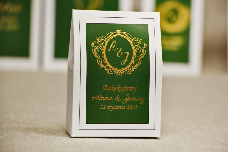 Pudełeczko stojące na cukierki, podziękowania dla Gości weselnych - Sonata nr 7 - Ciemna zieleń i złoto - dodatki ślubne