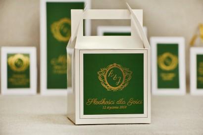 Pudełko na ciasto kwadratowe, tort weselny - Sonata nr 7 - Ciemna zieleń i złoto - dodatki ślubne ze złoceniem