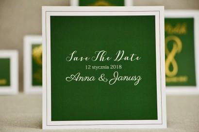 Bilecik Save The Date do zaproszenia ślubnego - Sonata nr 7 - Ciemna zieleń i biel