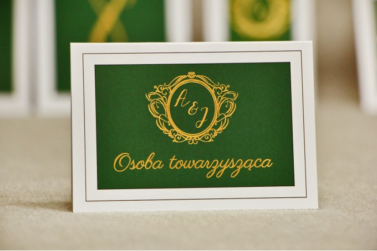 Winietki na stół weselny, ślub - Sonata nr 7 - Ciemna zieleń i złoto - Eleganckie dodatki ślubne ze złoceniem