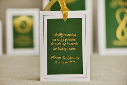 Zawieszka na butelkę, wódka weselna, ślub - Sonata nr 7 - Ciemna zieleń - dodatki ślubne ze złoceniem