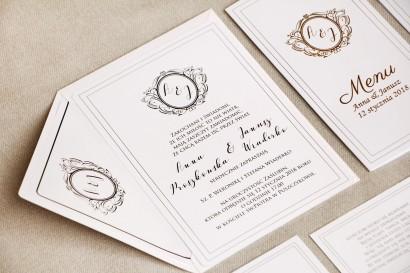 Zaproszenie ślubne, zaproszenia eleganckie ze złoceniem - Sonata nr 9 - Biel i złoto