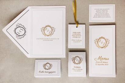 Zaproszenie ślubne z dodatkami - Sonata nr 9 - minimalistyczna biel - ze złoceniem