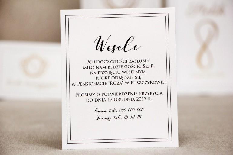 Bilecik do zaproszenia 120 x 98 mm prezenty ślubne wesele - Sonata nr 9 - Elegancka biel