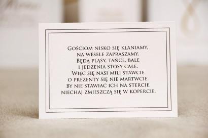 Bilecik do zaproszenia 105 x 74 mm prezenty ślubne wesele - Sonata nr 9 - Elegancka biel