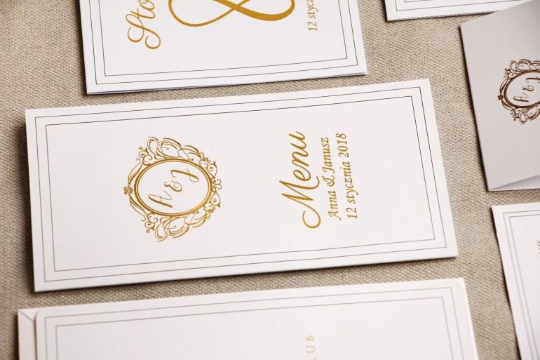 Menu weselne, stół weselny - Sorento nr 9 - Klasyczna biel - dodatki ślubne ze złoceniem