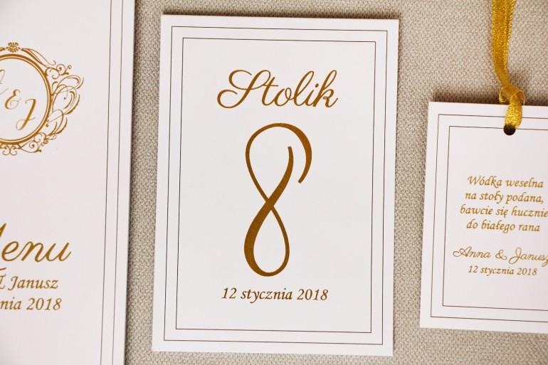 Numery stolików, stół weselny, ślub - Sonata nr 9 - Klasyczna biel - dodatki ślubne ze złoceniem