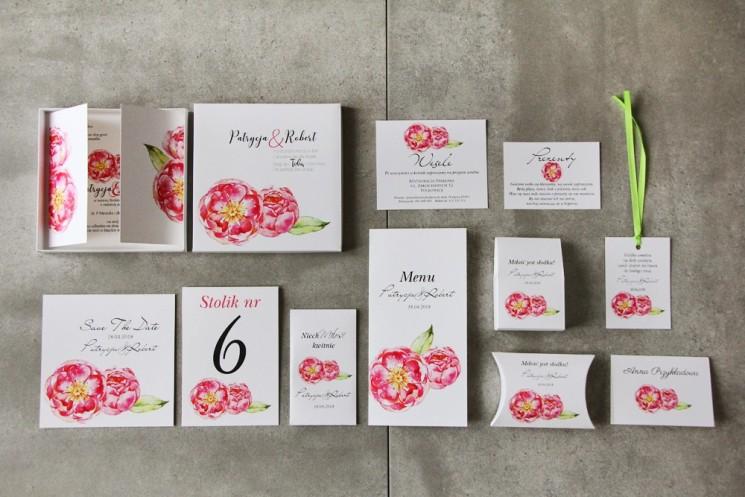 Efektowne zaproszenie ślubne w pudełku z dodatkami - Pistacjowe 6 - Amarantowe piwonie