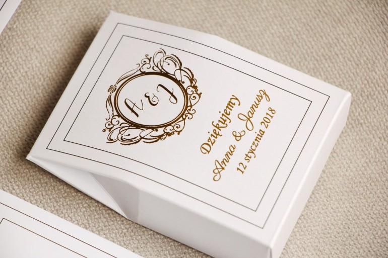 Pudełeczko stojące na cukierki, podziękowania dla Gości weselnych - Sonata nr 9 - Klasyczna biel i złoto - dodatki ślubne