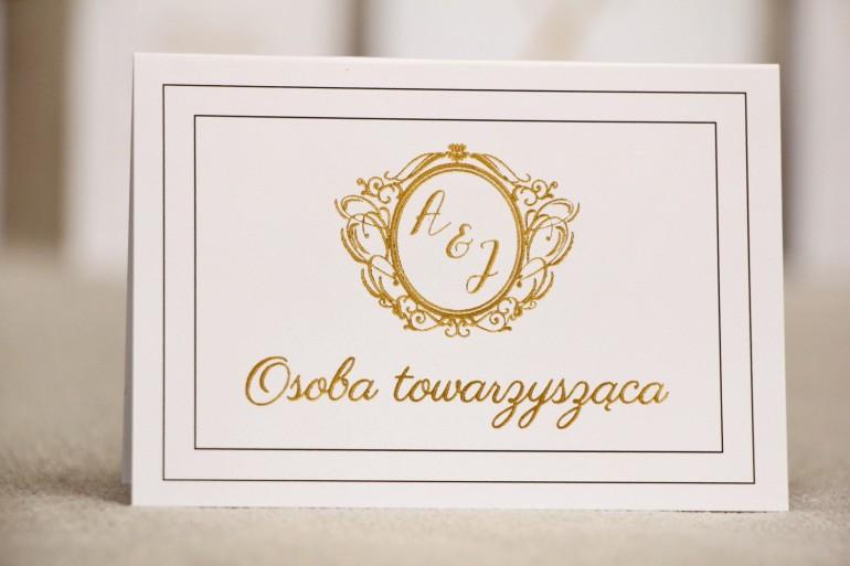 Winietki na stół weselny, ślub - Sonata nr 9 - Klasyczna biel - Eleganckie dodatki ślubne ze złoceniem
