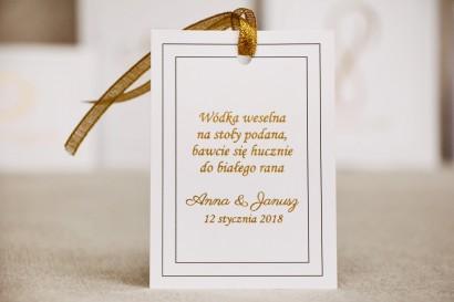 Zawieszka na butelkę, wódka weselna, ślub - Sonata nr 9 - Klasyczna biel - dodatki ślubne ze złoceniem