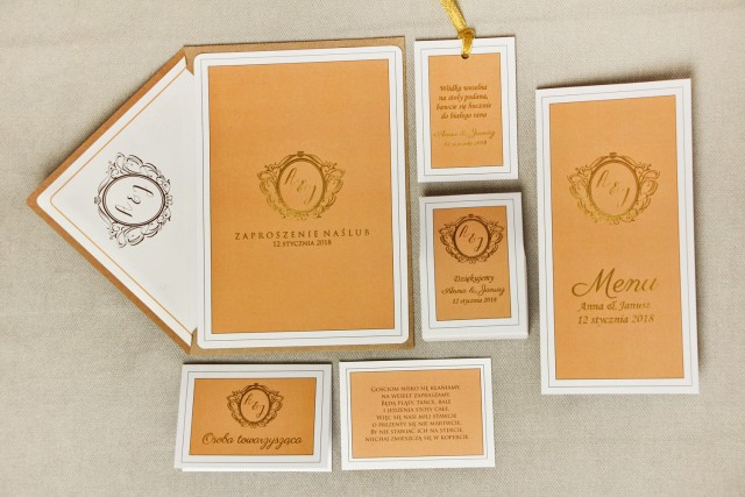 Zaproszenie ślubne z dodatkami - Sonata nr 8 - intensywny pomarańcz - ze złoceniem