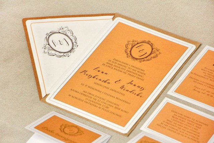 Zaproszenie ślubne, zaproszenia na ślub ze złoceniem - Sonata nr 8 - Pomarańcz i złoto