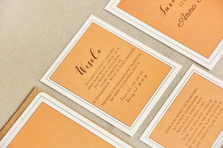 Bilecik do zaproszenia 120 x 98 mm prezenty ślubne wesele - Sonata nr 8 - Pomarańcz i złoto
