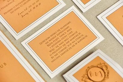 Bilecik do zaproszenia 105 x 74 mm prezenty ślubne wesele - Sonata nr 8 - Pomarańcz i biel