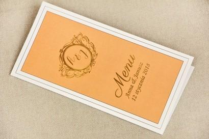 Menu weselne, stół weselny - Sonata nr 8 - Pomarańcz i złoto - dodatki ślubne ze złoceniem