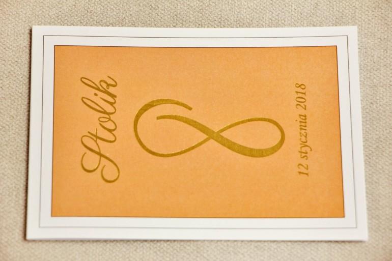 Numery stolików, stół weselny, ślub - Sonata nr 8 - Pomarańczowe - dodatki ślubne ze złoceniem