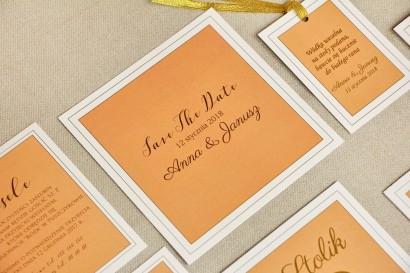 Bilecik Save The Date do zaproszenia ślubnego - Sonata nr 8 - Pomarańcz i biel
