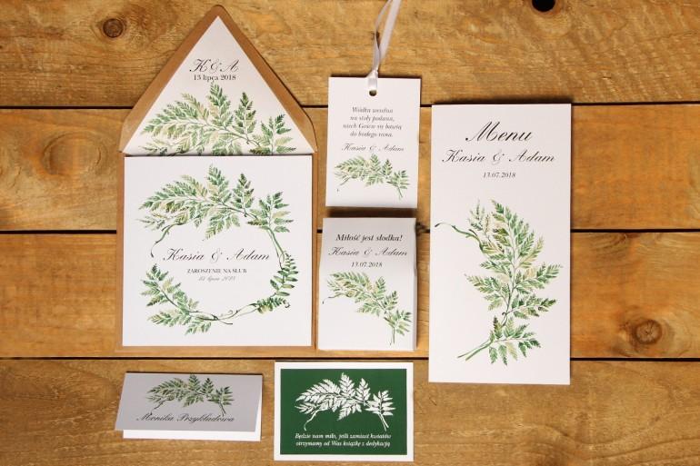 Zestaw próbny - Zaproszenia ślubne w ekologicznej kopercie oraz dodatki i podziękowania dla gości weselnych