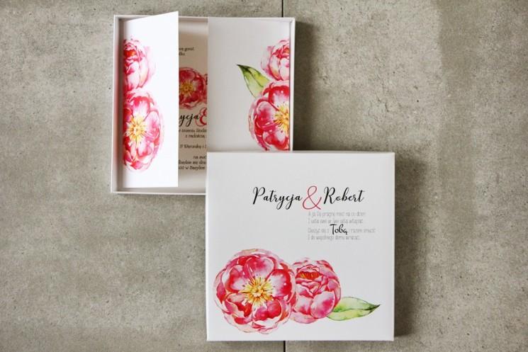 Efektowne Zaproszenie ślubne w pudełku - Pistacjowe nr 6 - Amarantowe piwonie