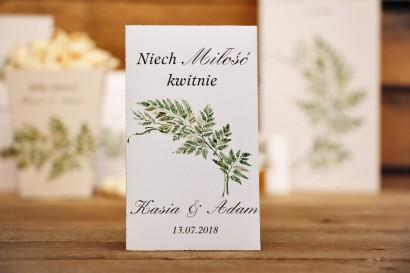 Podziękowania dla Gości weselnych - nasiona Niezapominajki - Kalia nr 1 - Liście paproci - kwiatowe dodatki ślubne