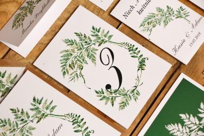 Numery stolików, stół weselny, ślub - Kalia nr 1 - paproć - dodatki ślubne