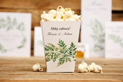 Pudełeczka na popcorn - dodatki ślubne, akcesoria - Kalia nr 1 - paproć