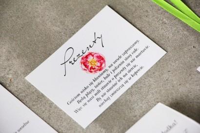 Bilecik do zaproszenia 105 x 74 mm prezenty ślubne wesele - Pistacjowe nr 6 - Intensywnie różowe piwonie