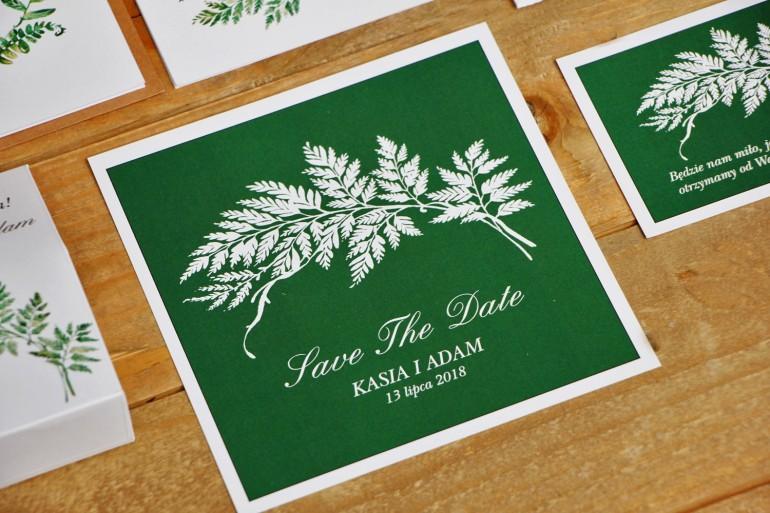 Bilecik Save The Date do zaproszenia ślubnego - Kalia nr 1 - Liść paproci