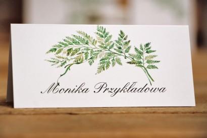 Winietki na stół weselny, ślub - Kalia nr 1 - Liście paproci - dodatki ślubne