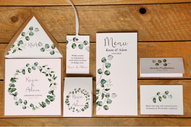 Zestw próbny - Zaproszenia ślubne w ekologicznej kopercie oraz dodatki i podziękowania dla gości weselnych - Kalia nr 2