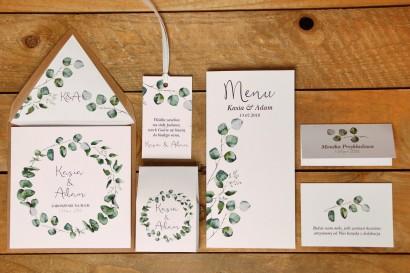 Zaproszenie ślubne z dodatkami - Kalia nr 2 - Eukaliptus - z ekologiczną kopertą