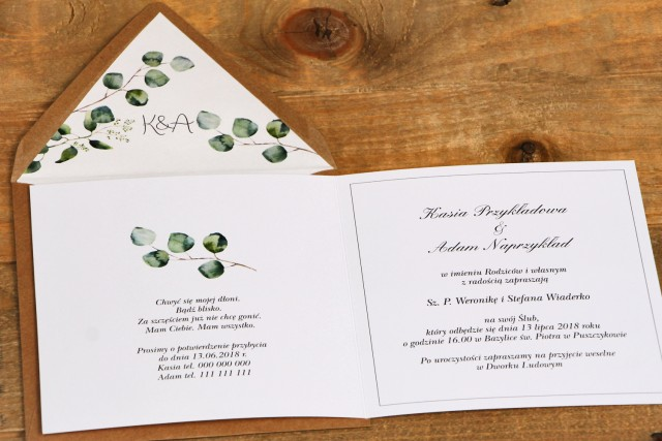 Zaproszenie ślubne, zaproszenia na ślub kwiatowe - Kalia nr 2 - Eukaliptus z ekologiczną kopertą - wnętrze