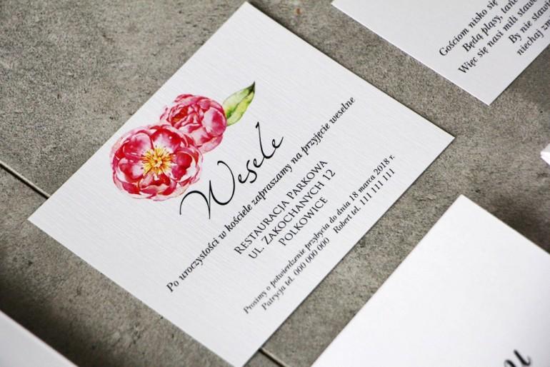 Bilecik do zaproszenia 120 x 98 mm prezenty ślubne wesele - Pistacjowe nr 6 - Intensywnie różowe piwonie