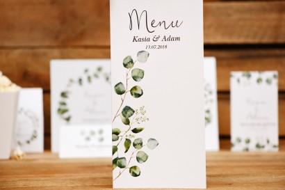 Menu weselne, stół weselny - Kalia nr 2 - Liście eukaliptusa - dodatki ślubne
