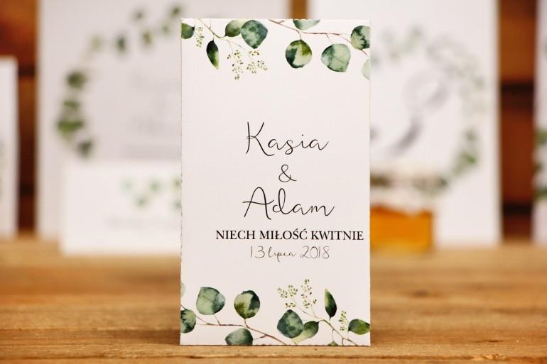 Podziękowania dla Gości weselnych - nasiona Niezapominajki -Kalia nr 2 - Liście eukaliptusa - kwiatowe dodatki ślubne