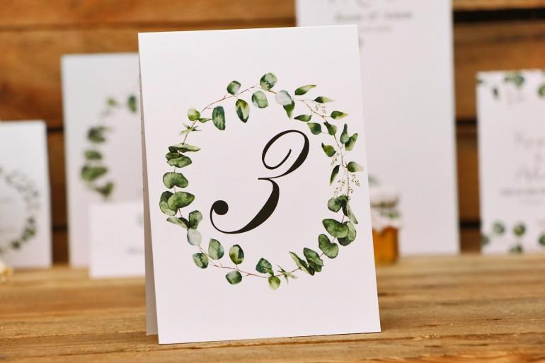 Numery stolików, stół weselny, ślub - Kalia nr 2 - Liście eukaliptusa - dodatki ślubne