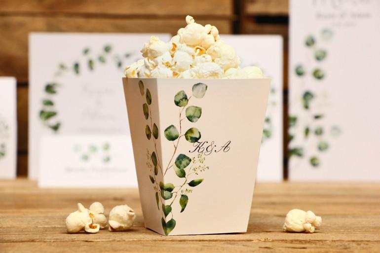 Pudełeczko na popcorn, dodatki ślubne, akcesoria - Kalia nr 2 - Eukaliptus