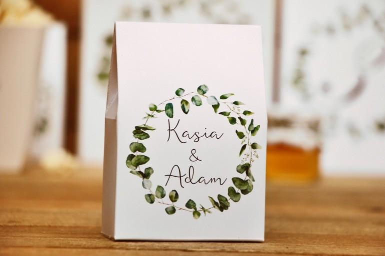 Pudełeczko stojące na cukierki, podziękowania dla Gości weselnych - Kalia nr 2 - Eukaliptus - Kwiatowe dodatki ślubne