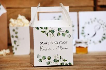 Pudełko na ciasto kwadratowe, tort weselny - Kalia nr 2 - Liście eukaliptusa - dodatki ślubne