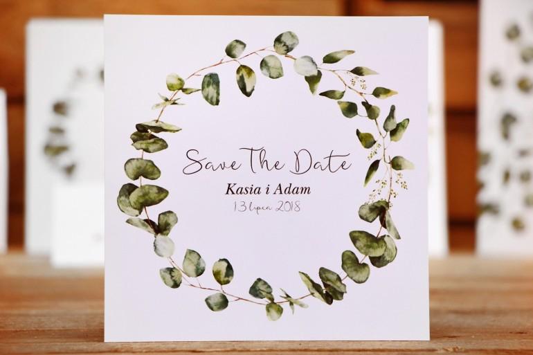 Bilecik Save The Date do zaproszenia ślubnego - Kalia nr 2 - Liście eukaliptusa