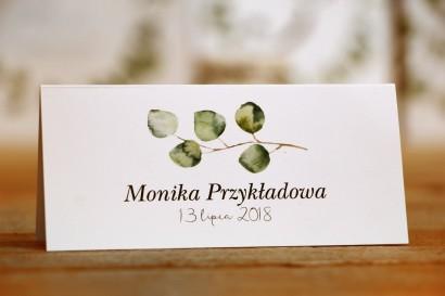 Winietki na stół weselny, ślub - Kalia nr 2 - Liście eukaliptusa - dodatki ślubne