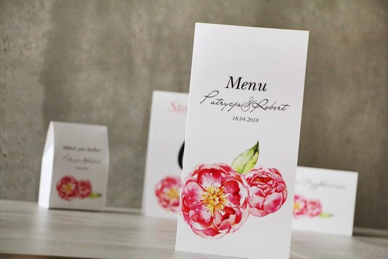 Menu weselne, ślub, stół weselny - Pistacjowe nr 6 - Intensywnie różowe piwonie