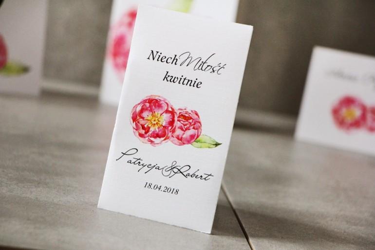 Podziękowania dla Gości weselnych - Nasiona Niezapominajki - Pistacjowe nr  6 - Intensywnie różowe piwonie.