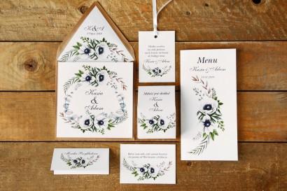 Zaproszenie ślubne z dodatkami - Kalia nr 3 - Białe anemony - z ekologiczną kopertą
