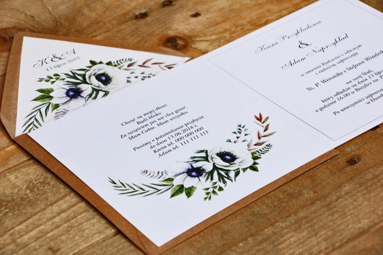 Zaproszenie ślubne, zaproszenia na ślub kwiatowe - Kalia nr 3 - Białe anemony