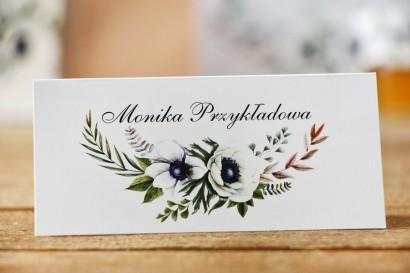 Winietki na stół weselny, ślub - Kalia nr 3 - Białe anemony - dodatki śłubne