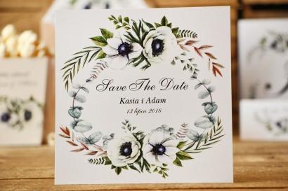 Bilecik Save The Date do zaproszenia ślubnego - Kalia nr 3 - Białe anemony i eukaliptus
