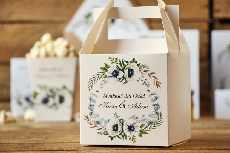 Pudełko na ciasto kwadratowe, tort weselny - Kalia nr 3 - Białe anemony - dodatki ślubne