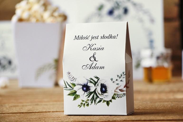 Pudełeczko stojące na cukierki, podziękowania dla Gości weselnych - Kalia nr 3 - Anemony - Kwiatowe dodatki ślubne